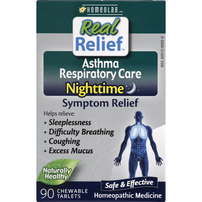 Real Relief Asthma Respiratory Care, Nighttime, Chewable Tablets