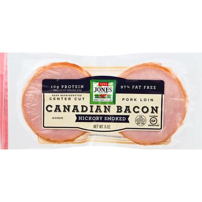 Jones Dairy Farm Canadian Bacon, Hickory Smoked, Center Cut, Pork Loin