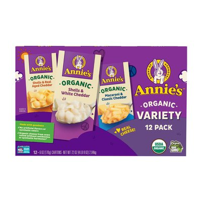 Annie's Shells & Macaroni, Organic, Shells & Real Aged Cheddar/Shells & White Cheddar/Macaroni & Classic Cheddar, Variety Pack, 12 Pack