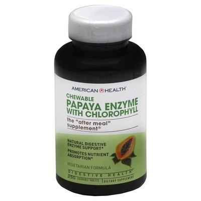 American Health Papaya Enzyme, with Chlorophyll, Vegetarian Formula, Chewable Tablets