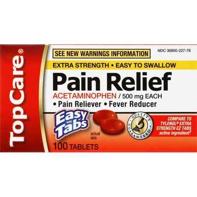 TopCare Acetaminophen, 500 mg, Extra Strength, Easy Tabs