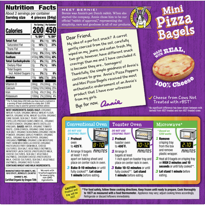 Annie's Three Cheese Mini Frozen Pizza Bagels, 9 Count
