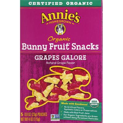 Annie's Bunny Fruit Snacks, Organic, Grapes Galore
