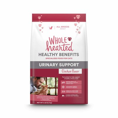WHOLE hearted Chicken Flavor URINARY SUPPORT HEALTHY BENEFITS SPECIALIZED FOOD FOR ALL BREEDS ADULT CATS