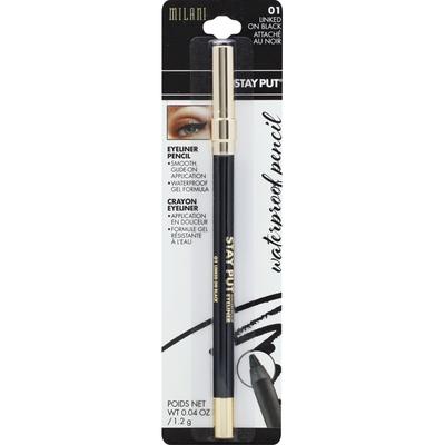 Milani Eyeliner Pencil, Waterproof, Linked on Black 01