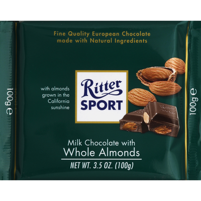 Ritter Sport Milk Chocolate, with Whole Almonds