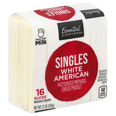 Essential Everyday White American Pasteurized Process Cheese Product Singles