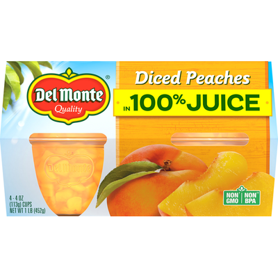 Del Monte Diced Peaches in 100% Juice Plastic Fruit Cup Snacks