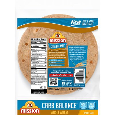 Mission Carb Balance Soft Taco Whole Wheat Tortillas