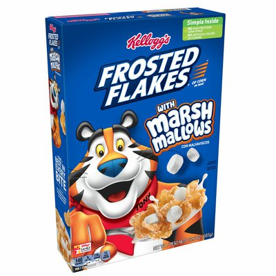Kellogg's Frosted Flakes Breakfast Cereal, Marshmallow Mania, Excellent Source of 7 Vitamins and Minerals, Original with Marshmallows