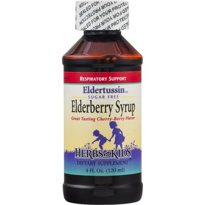 Herbs for Kids Eldertussin Sugar Free Elderberry Syrup Cherry-Berry Flavor