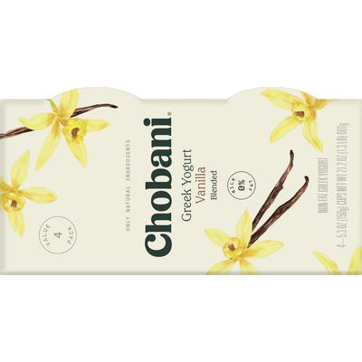Chobani Yogurt, Non-Fat, Vanilla, Greek, 4 Value Pack