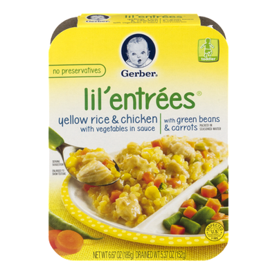 Gerber Lil' Entrees Yellow Rice and Chicken with Vegetables in Sauce Toddler Food