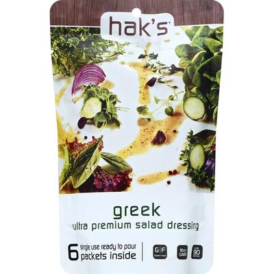 Hak's Salad Dressing, Ultra Premium, Greek, Single Use Packets