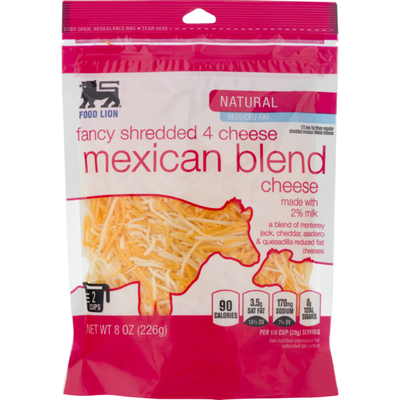 Food Lion Cheese, Natural, Mexican Blend, Fancy Shredded 4, Pouch