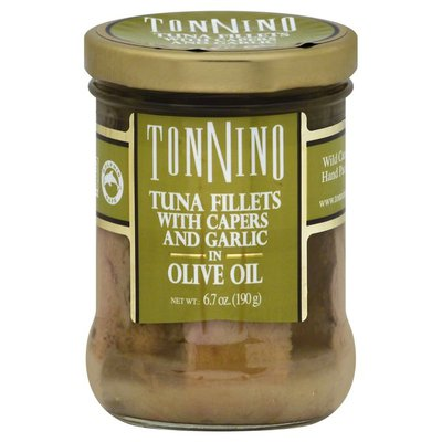 Tonnino Tuna Fillets with Capers and Garlic in Olive Oil, Tub