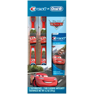 Oral-B Pro Health Stages Oral-B and Crest Kids Holiday Pack Featuring Disney & Pixar's Cars, Kids Fluoride Anticavity Toothpaste and Two Toothbrushes  Manual Oral Care