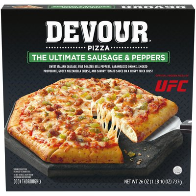 Devour The Ultimate Sausage & Peppers Frozen Pizza with Carmelized Onions, Smoked Provolone & Mozarella