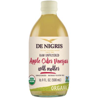 De Nigris Organic Apple Cider Vinegar with Mother, Raw Unfiltered
