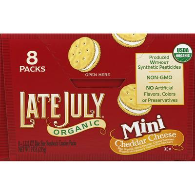 Late July Sandwich Crackers, Cheddar Cheese, Mini, 8 Packs