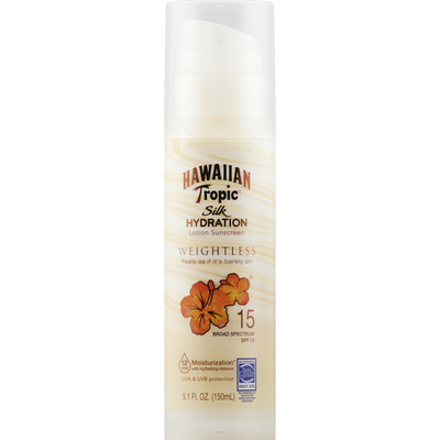 Hawaiian Tropic Sunscreen, Weightless, Lotion, Broad Spectrum SPF 15
