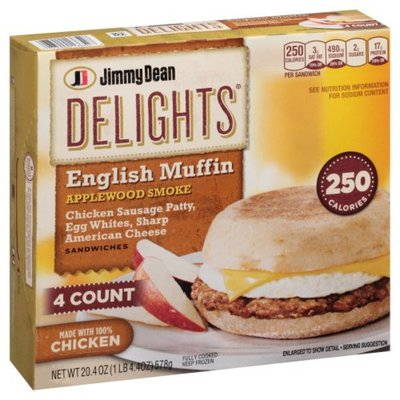 Jimmy Dean Sandwiches, English Muffin, Applewood Smoke, 4 Count