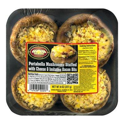 Modern Farms Portabella Mushrooms Stuffed With Cheese & Imitation Bacon Bits - 4 CT