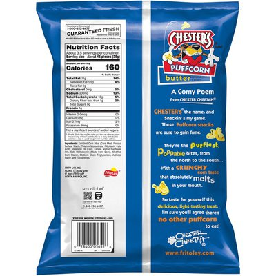 Chester'S Puffcorn Butter Puffed Corn Snacks