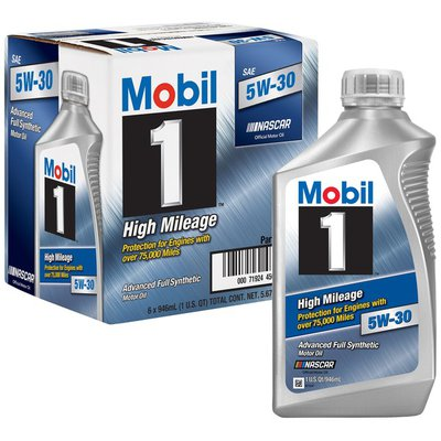 Mobil Motor Oil, Advanced Full Synthetic, 5W-30, High Mileage