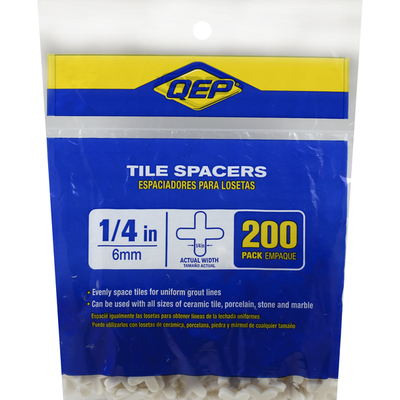 Qep Tile Spacers, 1/4 Inches, 200 Pack