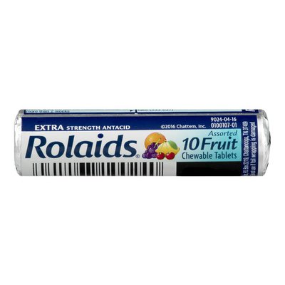 Rolaids Extra Strength Antacid Chewable Tablets Assorted Fruit - 10 CT