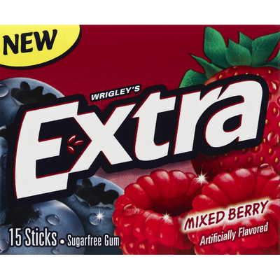 Extra Gum, Sugarfree, Mixed Berry