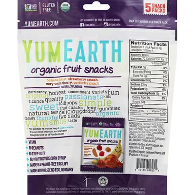 YumEarth Fruit Snacks, Organic, Assorted, 5 Snack Packs