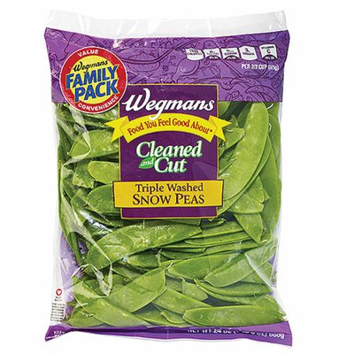 Wegmans Food You Feel Good About Cleaned and Cut Triple Washed Snow Peas, FAMILY PACK