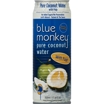 Blue Monkey Coconut Water, Pure, with Pulp