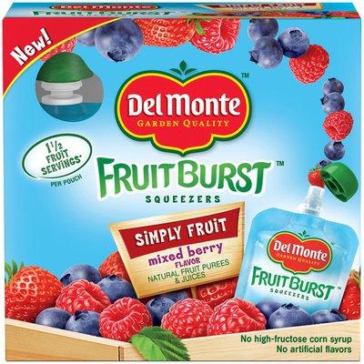 Del Monte Fruit Burst Squeezers Simply Fruit Mixed Berry Flavor Fruit Purees & Juices