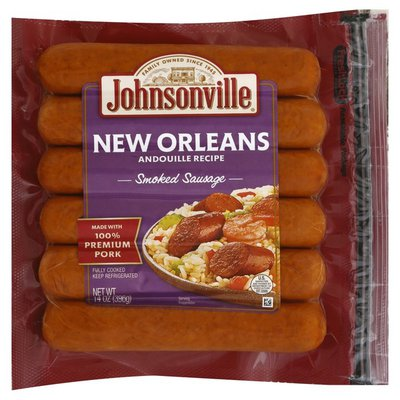 Johnsonville Sausage Andouille Recipe Smoked Sausage New Orleans Brand - 6 CT