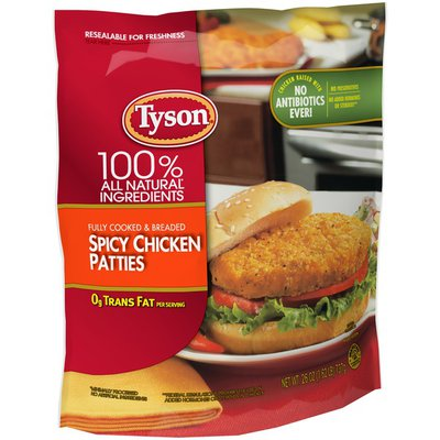 Tyson Fully Cooked Spicy Chicken Patties, Frozen