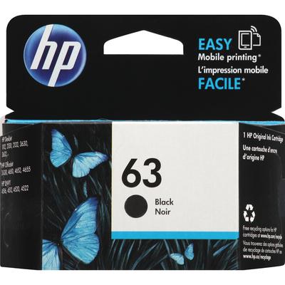 HP Ink Cartridge, 63 Black Noir, Original