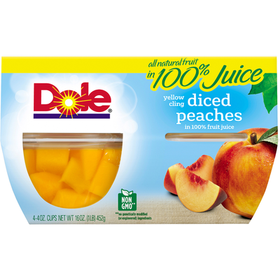 Dole Peaches, in 100% Fruit Juice, Yellow Cling, Diced