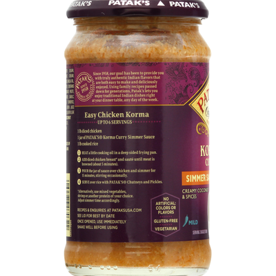Pataks Mild Korma Curry Simmer Sauce