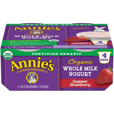 Annie's Organic Whole Milk Summer Strawberry Yogurt
