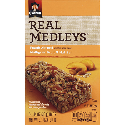 Real Medleys Fruit & Nut Bars, Multigrain, Peach Almond