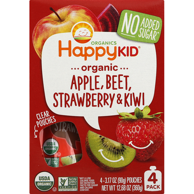 Happy Family Apple, Beet, Strawberry & Kiwi, Organic, 4 Pack