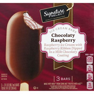 Signature Select Ice Cream Bars, Chocolaty Raspberry