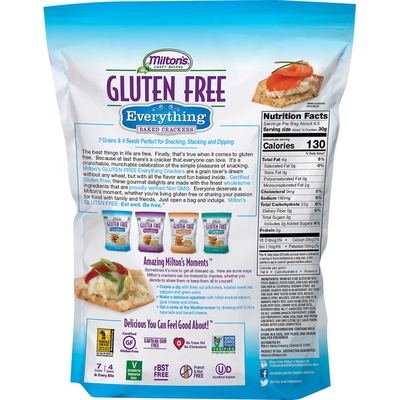 Miltons Baked Crackers, Everything, Gluten Free,