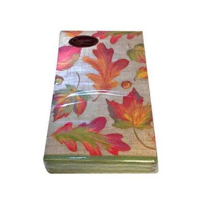 Caspari Linen Leaves Paper Guest Towel Napkins in Natural Color