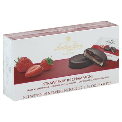 Anthon Berg Chocolate Covered Marzipan, Strawberry in Champagne