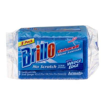Brillo Scrub Sponge, No Scratch, Estracell, 3 Pack