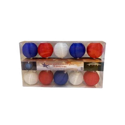 Sienna 10 Light Red White & Blue Mini Round Lantern